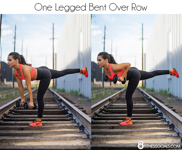 one legged bent over row