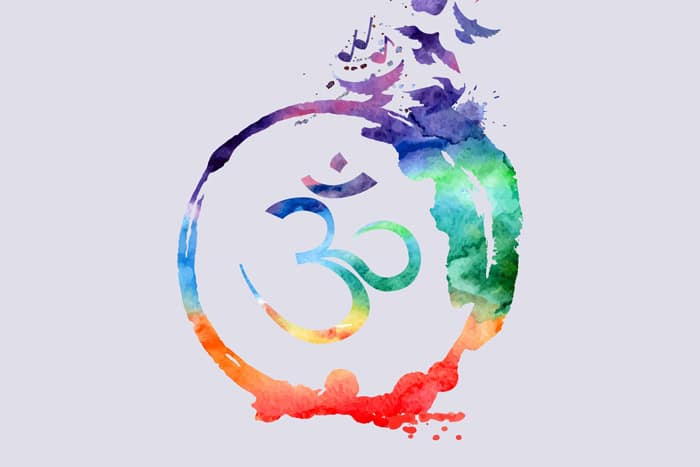colorful graphic with a circle surrounding a whimsical symbol