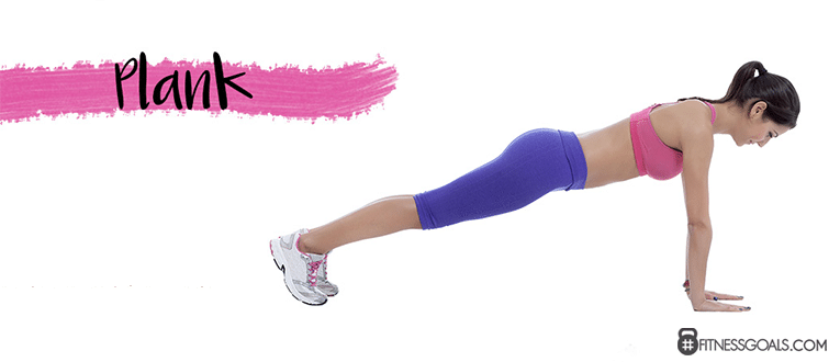 Woman performing plank abdominal exercise with arms extended and hands flat on floor to strengthen the muscles of the core