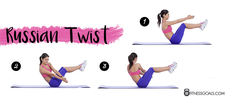 Woman performing Russian twist abdominal exercise by balancing on glutes, legs lifted, twisting her torso from side to side to strengthen the oblique muscles