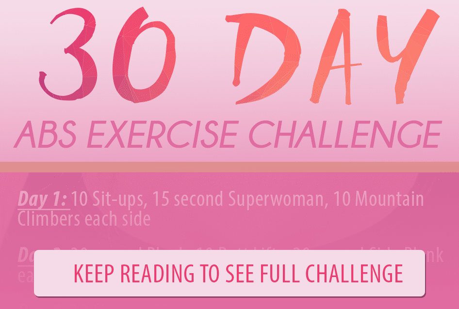 30 day abs exercise challenge graphic teaser