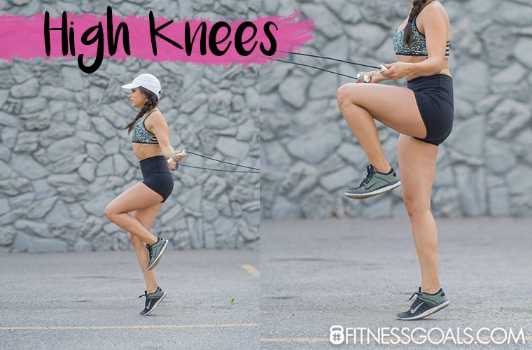 high knees jump rope exercise