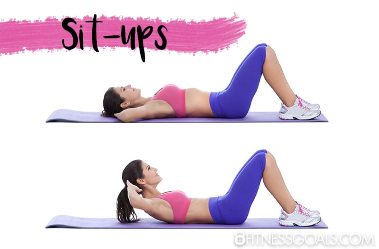 woman performing sit-up exercise to strengthen her abdominal muscles