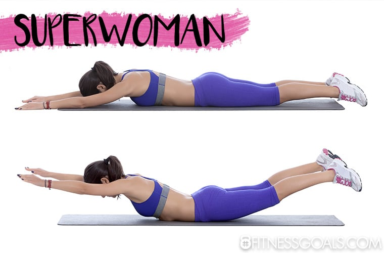 Woman performing superwoman core exercise, same as superman exercise, with body lying prone on the floor, arms and legs extended and lifted off the floor to strengthen the muscles on the back of the body