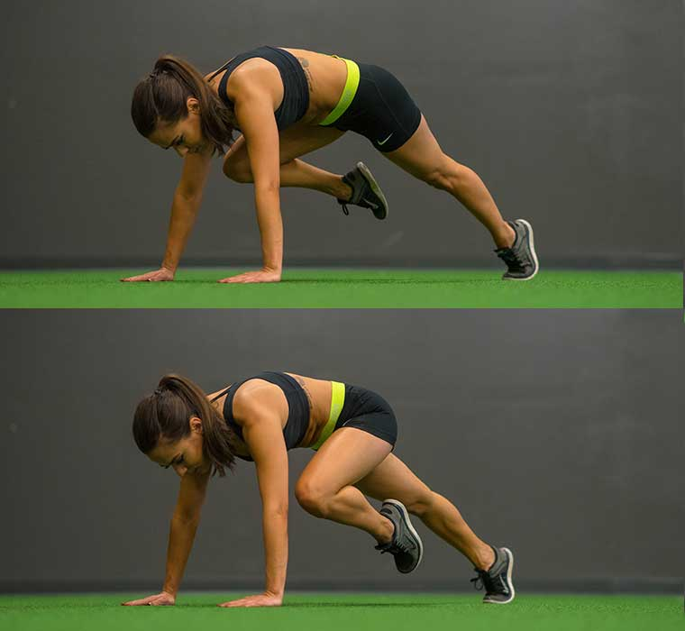 plank with knee tuck