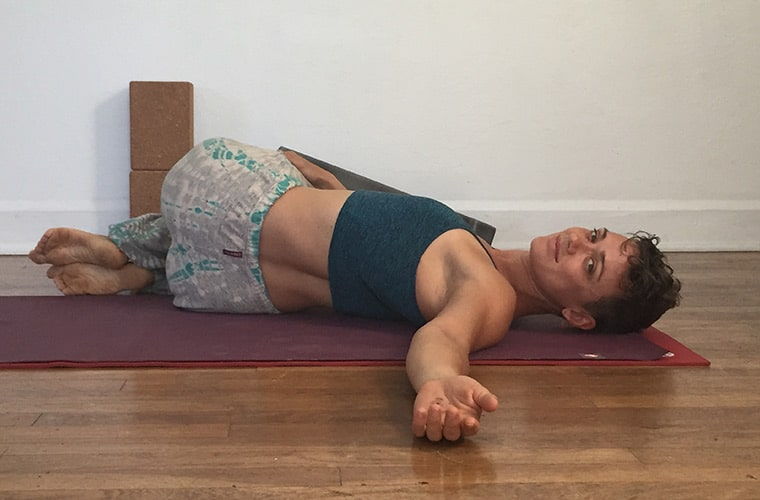 Supine twist Exhale Chill Yoga